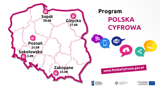 Mapka pokazująca, w których miejscowościach będą odbywać się wydarzenia